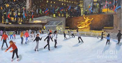 Evening, Rockefeller Ice Rink, New York Art Print