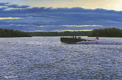 Thousand Islands Painting - Evening Run by Richard De Wolfe