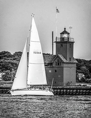 Photograph - Evening Sail At Holland Light - Bw by Nick Zelinsky