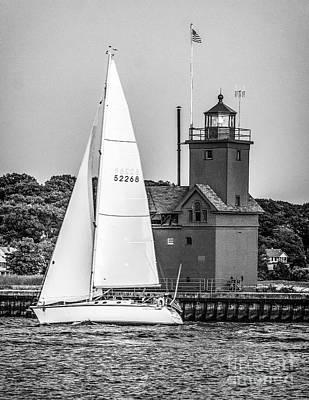 Photograph - Evening Sail At Holland Light - Bw by Nick Zelinsky