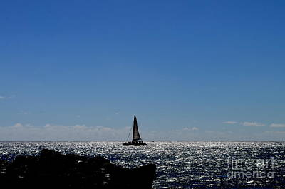 Photograph - Evening Sail Off Glass Beach Kauai Hawaii by Mary Deal