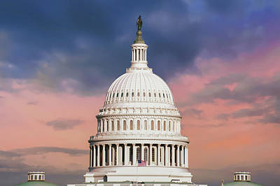 Photograph - Evening Skies Over Congress - United States Capitol Building - Washington D.c. by Gregory Ballos