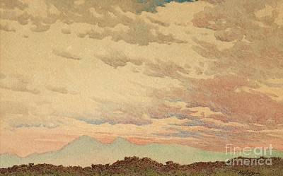 Sun Rising Painting - Evening Sky by MotionAge Designs