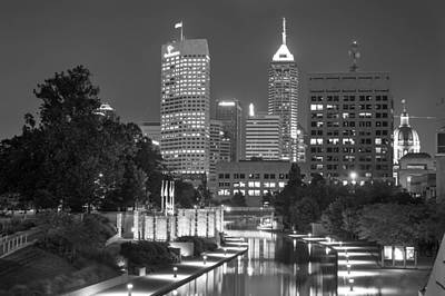 Evening Skyline Of Indianapolis Indiana Art Print by Gregory Ballos