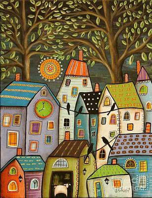 Naive Art Painting - Evening Song by Karla Gerard
