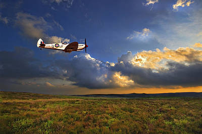 Flight Photograph - Evening Spitfire by Meirion Matthias