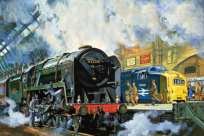 Commuters Painting - Evening Star, The Last Steam Locomotive And The New Diesel-electric Deltic by Harry Green