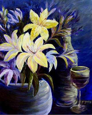 Wine-glass Painting - Evening Stars by Joanne Smoley