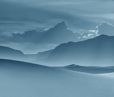 Evening Stillness - White Sands - Duvet In Blue Print by Nikolyn McDonald