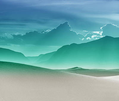 Evening Stillness - White Sands - Duvet In Sea Gradient Print by Nikolyn McDonald