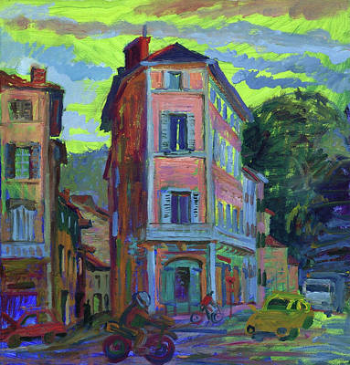 Painting - Evening Street In Cahors by Katia Weyher