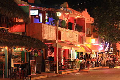 Mexican Cantina Photograph - Evening Street Scene Playa Del Carmen Mexico by Roupen  Baker