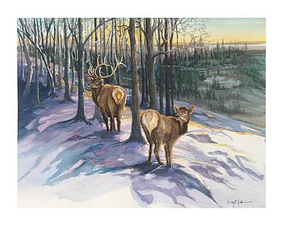 Deer Painting - Evening Stroll by Dan Park