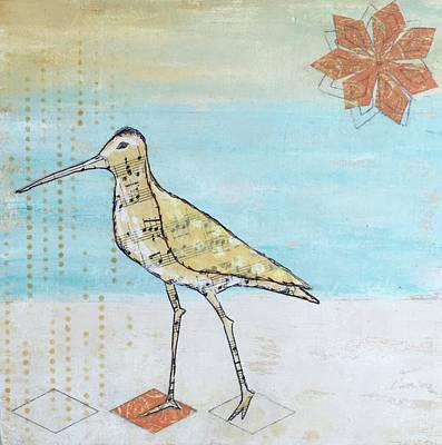 Sandpiper Mixed Media - Evening Stroll by Nancy Gunther