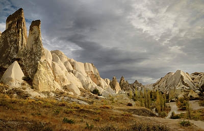 Turkey Photograph - Evening Sun On Rock Spires Of The Red Valley With Hiking Path So by Reimar Gaertner