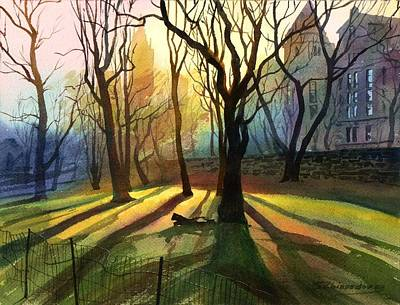 Art Print featuring the painting Evening Sunbeams by Sergey Zhiboedov