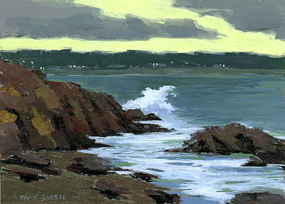 Ogunquit Marginal Way Painting - Evening Surf by Mary Byrom