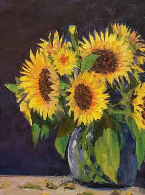 Evening Table Sun Flowers Art Print