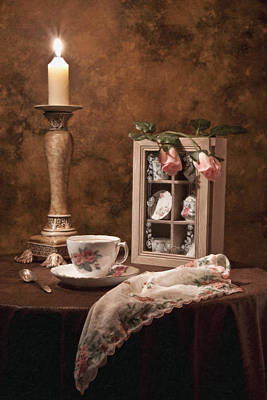Antique Photograph - Evening Tea Still Life by Tom Mc Nemar