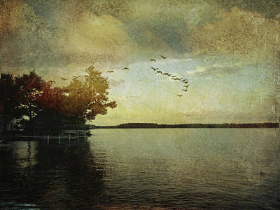 Digital Art - Evening, The Lake by Ann Tracy