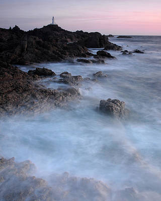 Photograph - Evening Tide, La Corbiere Lighthouse, Jersey by David Stanley