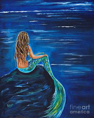 Painting - Evening Tide Mermaid by Leslie Allen