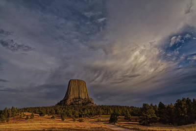 School Teaching - Evening Time at Devils Tower by John M Bailey