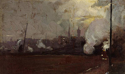 Australian Landscape Painting - Evening Train To Hawthorn by Tom Roberts