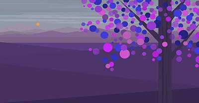 Digital Art - Evening Tree - Purple by Val Arie
