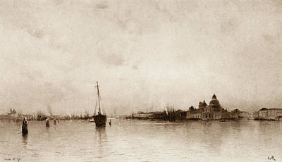 Harbor Drawing - Evening   Venice by Marie Joseph Leon Clavel