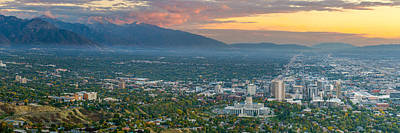 Evening View Of Salt Lake City From Ensign Peak Art Print