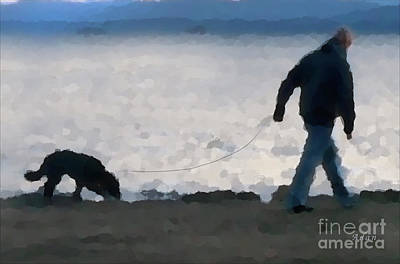 Dog Walking Digital Art - Evening Walk Along Lake Champlain - Detail by Felipe Adan Lerma