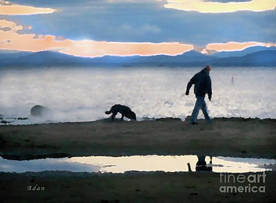 Dog Walking Digital Art - Evening Walk Along Lake Champlain by Felipe Adan Lerma