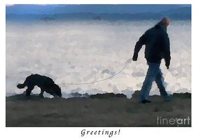Dog Walking Digital Art - Evening Walk Along Lake Champlain - Greeting Card And Poster by Felipe Adan Lerma