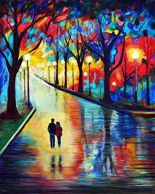 Painting - Evening Walk by Leslie Allen
