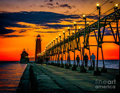 Photograph - Evening Walk On The Grand Haven Pier by Nick Zelinsky