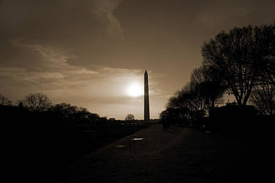 Evening Washington Monument Silhouette Art Print by Betsy Knapp