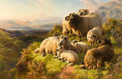 Sheep. Landscape Painting - Evening by William Watson