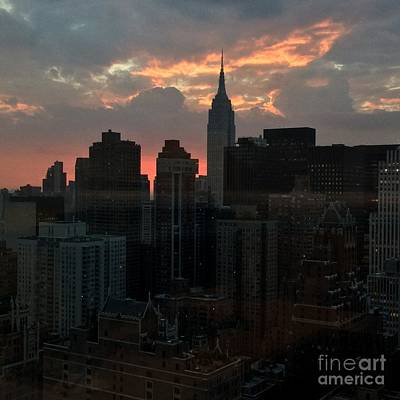 Photograph - Evening With The Empire State - Sunset In New York by Miriam Danar