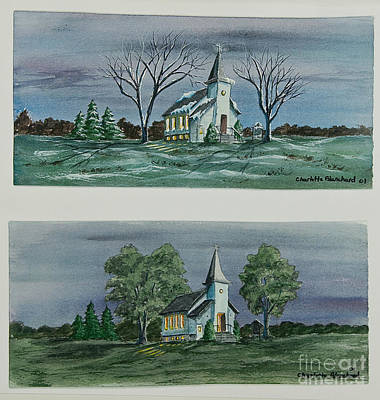 Snow Scene Landscape Painting - Evening Worship In Winter And Summer by Charlotte Blanchard