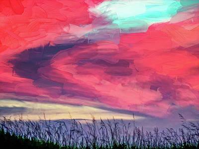 Sauble Beach Sunset Photograph - Evening's Palette - Impasto by Steve Harrington