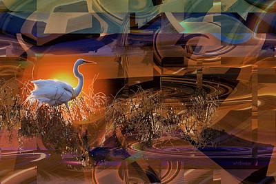 Photograph - Evenings Shadows Lengthen - Great Egret by rd Erickson