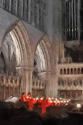 Painting - Evensong Practice At Wells Cathedral by Menega Sabidussi