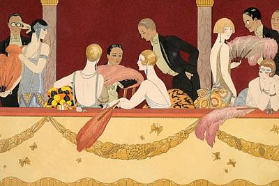 Evening Dress Drawing - Eventails by Georges Barbier