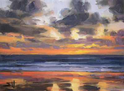 Beach Oil Painting - Eventide by Steve Henderson