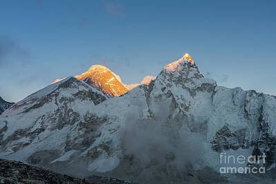 Photograph - Everest And Lhotse Peaks Alpenglow by Mike Reid