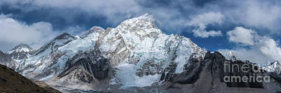 Photograph - Everest Lhotse Pano As Everest Starts To Appear by Mike Reid