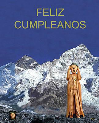 Mixed Media - Everest The Scream World Tour Happy Birthday Spanish by Eric Kempson