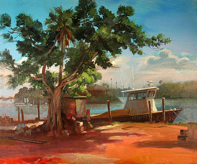 Painting - Everglades Crab Boat by Keith Gunderson