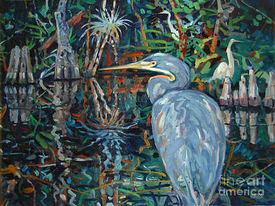 Blue Herron Painting - Everglades by Donald Maier